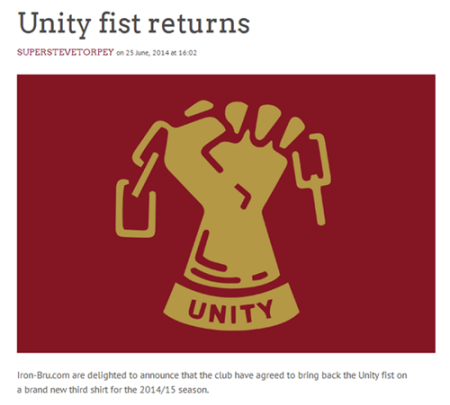 An article on Iron-bru.com celebrates the return of Scunthorpe's Unity Fist