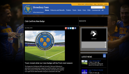 'Club Confirms New Badge' article on STFC Official Website, Saturday 20th December 2014